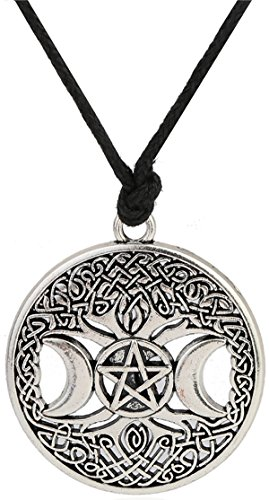Triple Rope Chain (Lemegeton Knot Triple Moon Goddess Pentacle Adjustable Rope Chain Pendant Necklace For Men)