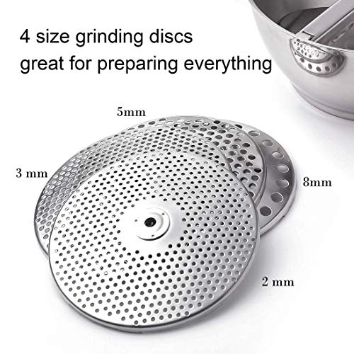 Rotary Food Mill with 4 milling Disks, 18/10 Stainless Steel Hand Crank Manual Grinder for Vegetable Mashed Potato Tomato Applesauce Dishwasher Safe by ROYDOM by ROYDOM (Image #2)