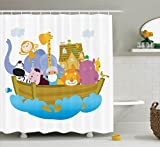 Ambesonne Religious Shower Curtain, Religious Story the Ark with Animals in the Boat Journey Faith Theme Cartoon, Fabric Bathroom Decor Set with Hooks, 84 Inches Extra Long, Multicolor