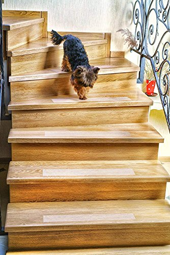 Kenley Non-Slip Stair Treads for Dogs and Pets - Pack of 4 Clear Step Strips 6''x24'' - Indoor & Outdoor - Anti-Slip Floor Vinyl Safety Grip Tape with Adhesive for Steps & Stairs - Fall Risk Prevention by Kenley
