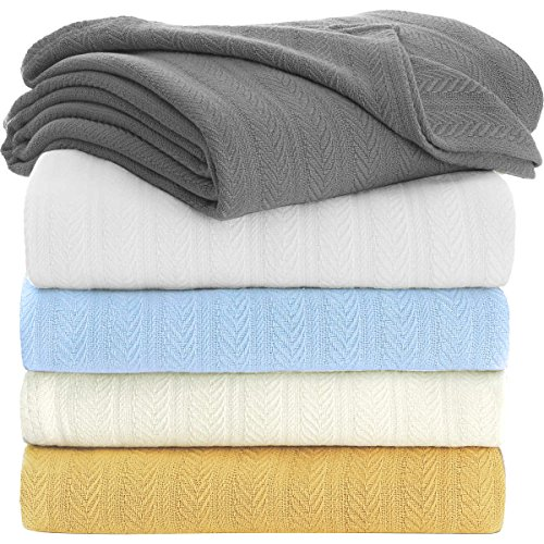 (TreeWool, 100% Soft Premium Cotton Thermal Blanket Lightweight Easy Care Comfortable and Warm (King Size - 90