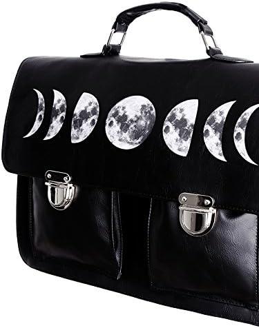 Restyle Cartable noir imitation cuir imprimé cycle de lunes, gothique occulte