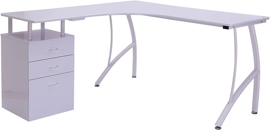 Homcom - Escritorio angular con mueble de 3 cajones: Amazon.es: Hogar