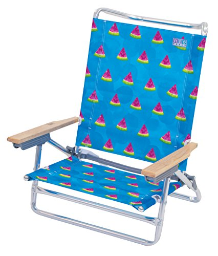 RIO BEACH 5 Position Classic Lay Flat Beach Chair, Watermelon