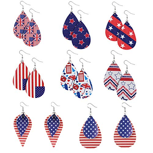 American Flag Leather Earrings f...