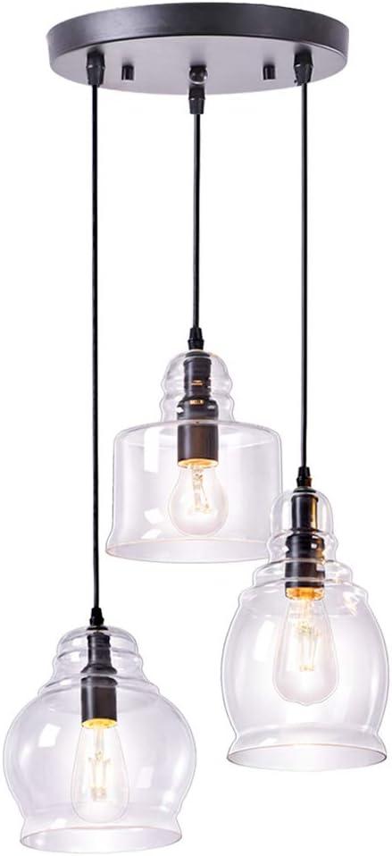 Wellmet Glass Pendant Lighting, Cluster Pendant Lights for Kitchen ...