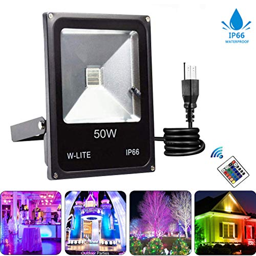 W-LITE LED Dimmable Outdoor Color Changing Lights with Remote-50W IP66 Waterproof Outside Security RGB Flood Light,Exterior Landscape Accent Lighting for Garden,Lawn,Yard,Stage,Hallowe Decorative (Hill Outdoor Hanging Wall)