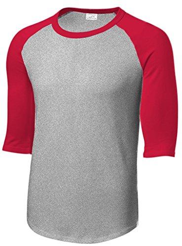 Joe's USA Mens 3/4 Sleeve 100% Cotton Baseball Tee Shirt,2XL HeathGrey/Red