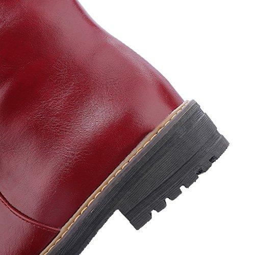 Allhqfashion Womens Zacht Materiaal Ronde Gesloten Teen Solide Low-top Lage Hakken Laarzen Claret