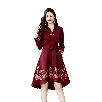 Vestidos manga larga color vino