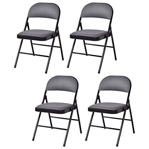 Officejoy Set of 4 Folding Chair Fabric Upholstered Padded Seat Metal Frame Chair Easy Storage Portable Home Office Furniture for Outdoor and Indoor, (Fabric Metal Folding Chair)