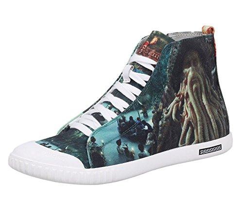 正確さ決して謝るPirates of the Caribbean Captain Octopus Davy Jonesコスプレ靴3d印刷キャンバス靴スニーカー