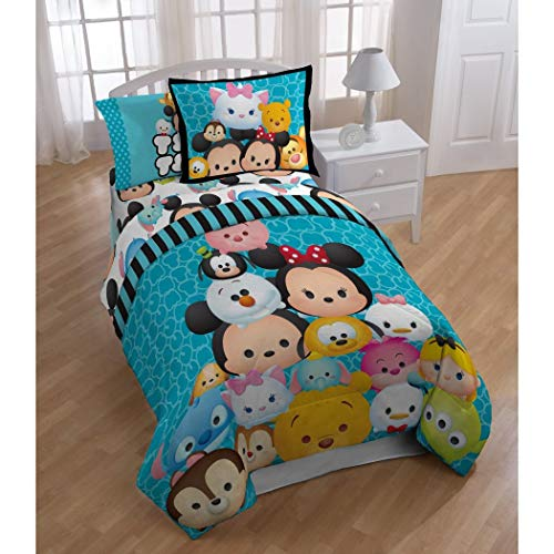 (LO 4 Piece Kids Blue Disney Tsum Tsum Stack Themed Comforter Twin Set, Fun Playful Plush Cute Character Bedding, Mickey Minnie Mouse Donald Daisy Duck Pluto Goofy Winnie Pooh Tigger Olaf, Polyester)