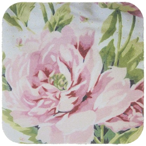 3dRose cst_47872_1 Shabby Chic Pink Country Rose Soft Coasters, Set of 4