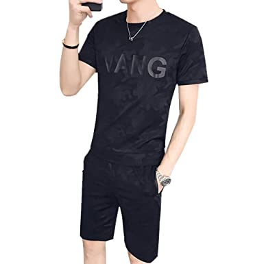80ee9001d9defb Kayaa メンズ ジャージ 上下セット 2点セット 迷彩 丸首 半袖 tシャツ+ショートパンツ