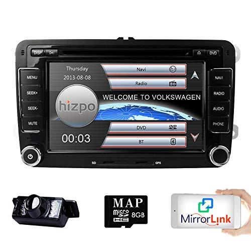 (HD 7 Inch Double Din Car Stereo GPS DVD Navi for VW Golf Polo Passat Tiguan Jetta EOS+US Map+Camera Capacitive Screen)