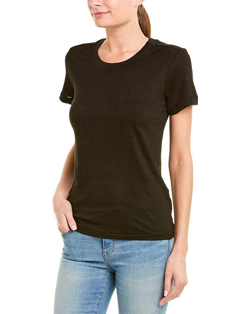 Xs Black Stateside Womens Solid Linen T-Shirt