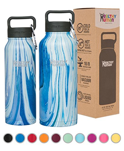 Healthy Human Stainless Steel Insulated Water Bottle Thermos - BPA Free Cap with Hydro Guide & Carabiner Set - Ocean Tide - 32 oz