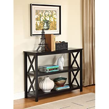 Amazon.com: Black Occasional Console Sofa Table Bookshelf: Kitchen ...