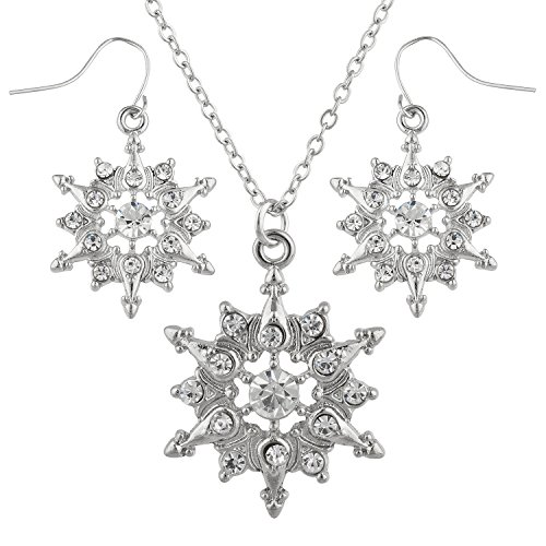 Lux Accessories Silver Tone Snowflakes Crystal Rhinestone Winter Necklace ()