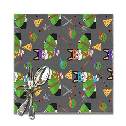 Placemats for Dining Table,tri corgi ninja turtle dog dogs cartoon costume halloween charcoal Non-Slip Insulation Placemat Washable PVC Polyester for Kitchen Banquet Party,Set of 6, 12x12 inch -