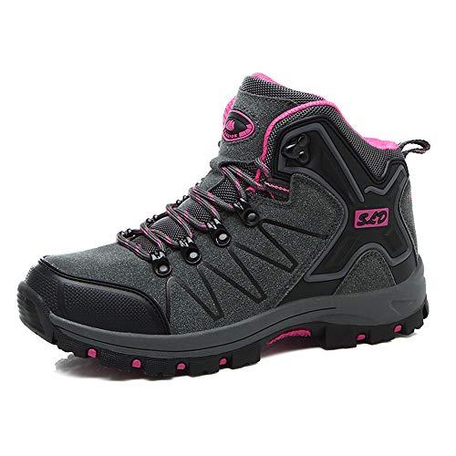 FEOZYZ Women's High Top Waterproof Hiking Boots (39 M EU/7.5 B(M) US, Grey)