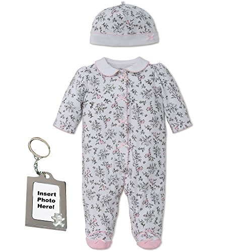 (Little Me Girl Footie Footed Sleeper Sleep N Play Hat & Keychain Black Toile 9M)