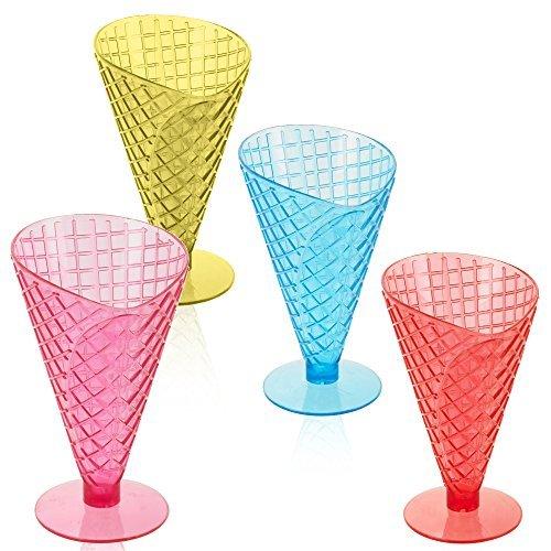 Panorama Stores Coloured Ice Cream Coupe Cone Embossed Dish Sundae Fruit Dessert Bowl (3 Of Each Colour) (Dish Sundae)