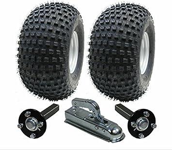 ATV juego de remolque - remolque quad - Ruedas + hub / ramal + enganche, 310kg, los Neumáticos hijo 22x11.00-8 4ply P323 Wanda Knobby: Amazon.es: Coche y ...