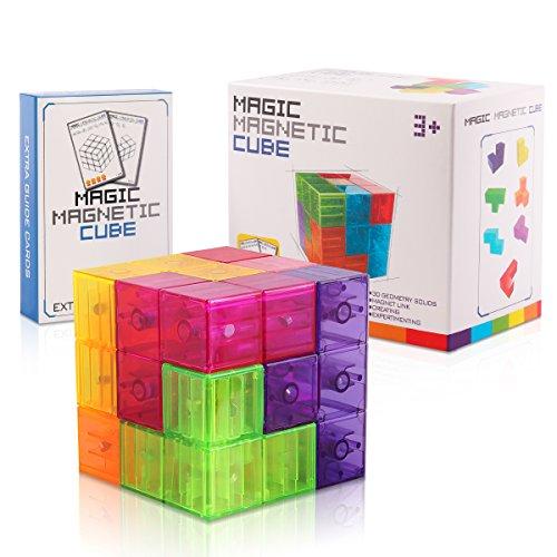D-FantiX Magnetic Building Blocks Tetris Puzzle Cube 7pcs/Set Square 3D Brain Teaser Puzzle Magnetic Tiles Stress Relief Toy Games for Kids ( Cube Size 2.36in) by D-FantiX (Image #6)
