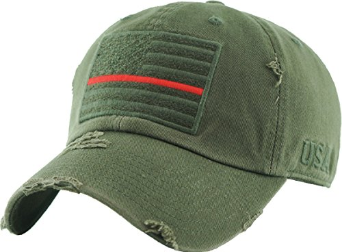 Red Camo Cap - KBVT-209 OLV (RED LINE) Tactical Operator with USA Flag Patch US Army Military Baseball Cap Adjustable