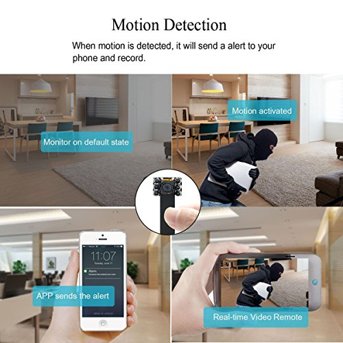 Cámara Oculta, UYIKOO WiFi Cámara HD 1080P Mini Cámara Espía Soporte de Visión Nocturna/Detección de Movimiento, Cámara espía inalámbrica para la Seguridad ...