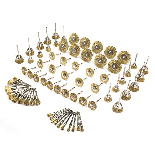 70Pcs Brass Wire Polishing Brush Wire Brush Wheel Cup Kit With 1/8'' Shank Polishing Attachment for Die Grinder Rotary Tools ()