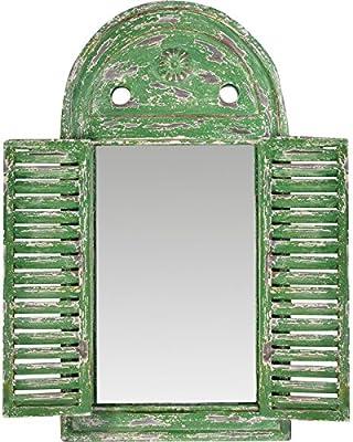 Marco de madera verde arco espejo para jardín o Home: Amazon.es: Hogar