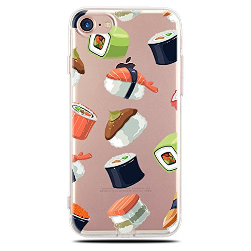 iPhone 8/iPhone 7 Case(4.7inch),Blingy's Creative Food Style Transparent Clear Flexible Soft Rubber TPU Case for iPhone 8/iPhone 7 (Sushi Style) - Style Sushi