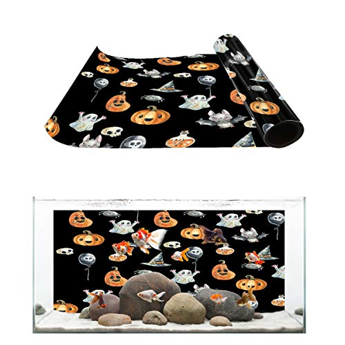 Fantasy Star Aquarium Background Halloween Ghost Punpkin and Bats Fish Tank Wallpaper Easy to Apply and Remove PVC Sticker Pictures Poster Background Decoration 16.4