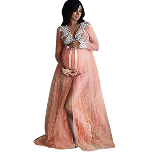 d830ce04c7e14 Amazon.com: Maternity-Dress for Photoshoot Long Sleeve Lace Gown Split  Front Maxi Pregnancy Photography-Dress: Clothing