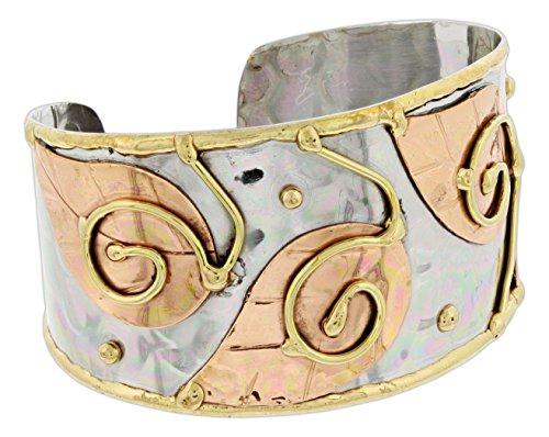 Leaf Bracelet Cuff (Anju Mixed Metal Cuff Bracelet (Swirls & Leaves))
