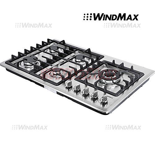 Ships From CA, USA 34'' Stainless Steel Circular Frame 5 Burners Stove NG/LPG Gas Cooktops Cooker by WindMax