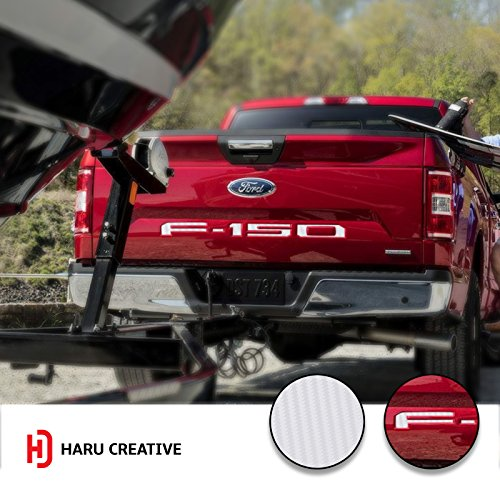 Haru Creative - 2018 Ford F150 Rear Tailgate Letter Insert Overlay Decal - Carbon Fiber White