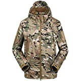 kaifongfu Men's Slim Fit Tactical Long Sleeve Shirt Jacket Outdoor Combat Shirt(Camouflage,S)