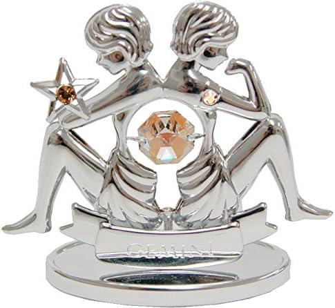 Amazon.com: Chapado en cromo Zodiaco (Gemini) en soporte con ...