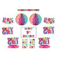 Happy Birthday Girl Add-An-Age Decorating Kit Assorted Party Decoration (38 Pack), Multi Color, .