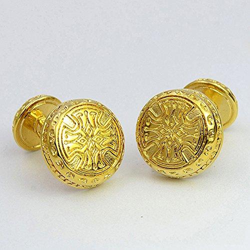 d76835083591 de lujo de oro grabado plateado mancuerna artística patrón de doble cara de  alta gama mancuerna
