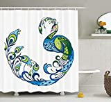 KANATSIU Peacock Colorful Curvy Pattern Tropical Summer Flourish Art Image Shower Curtain,with 12 plactic hooks,100% Made of Polyester,Mildew Resistant & Machine Washable,Width x Height is 72X72