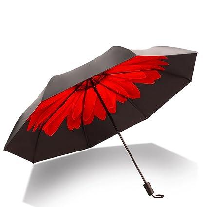 Meng Wei Shop Sombrilla UV Doble Protección Solar Sombrilla de vinilo solar Mujer paraguas floral soleado