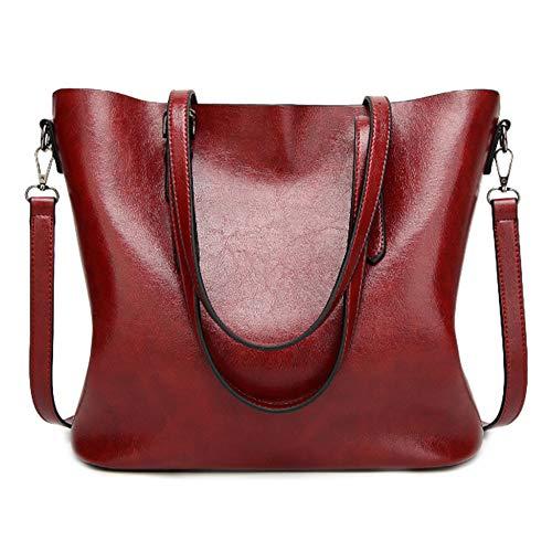 PANGOIE,Borsa Donna,PU Pelle Borse A Mano Borse Tracolla Semplice Borse A Spalla Borsetta Messenger Bag Borsetta Crossbody Grande Burgundy