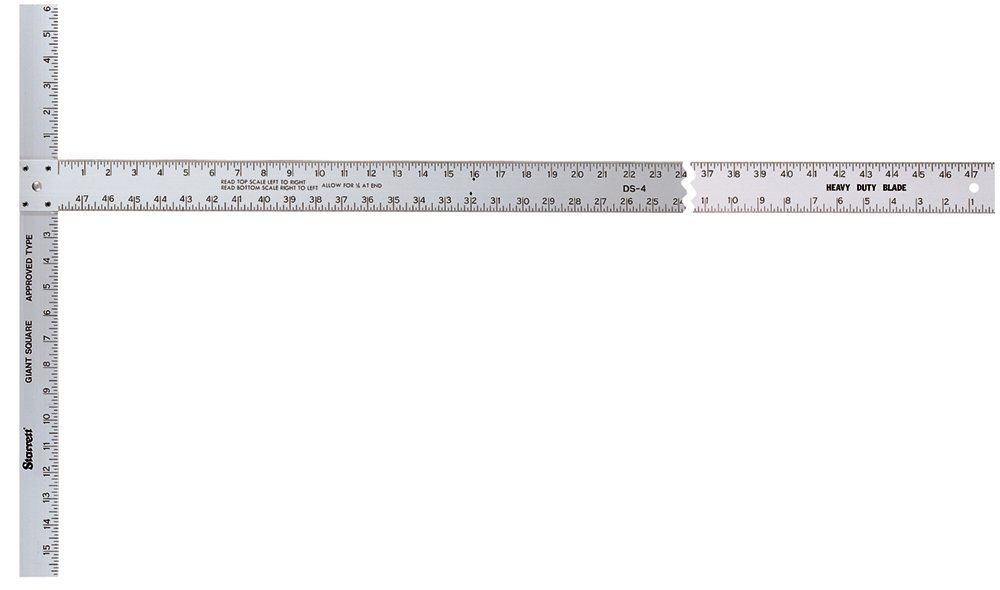 Starrett DS-4 Aluminum Drywall Square, 22'' x 48'' Length