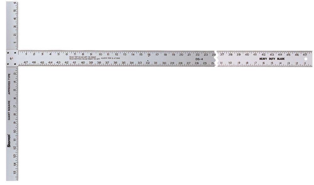 Starrett DS-4 Aluminum Drywall Square, 22'' x 48'' Length