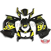 VITCIK (Fairing Kits Fit for Kawasaki EX250R Ninja 250 EX-250R ZX250 2008 2009 2010 2011 2012) Plastic ABS Injection Mold Complete Motorcycle Body Aftermarket Bodywork Frame (Black & Yellow) A030